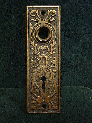 "Antique Gorgeous Iron Door Knob Backplate Back Plate 1 3/4"" X 5 5/8"""