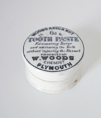 Edwardian Woods Chemist Plymouth Woods Areca Nut Toothpaste Pot And Lid