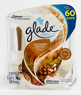 Glade PlugIns Scented Oil Refills - CASHMERE WOODS = 2 total