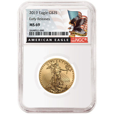 2019 $25 American Gold Eagle 1/2 oz. NGC MS69 Black ER Label