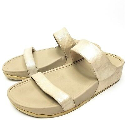 e37d12246f4bc FitFlop Women s Lulu Shimmersuede Gold Slide Sandal Size 8 Shoes Pre-Owned