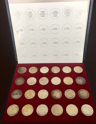 1972 Munich Olympics SILVER 24 Coin Set - Original Box Nice Silver 10 Mark Coins