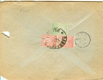 BULGARIA - SLIVEN to ENGLAND - 1892 years stamps 5 + 2 x 10 St  issue SMALL LION