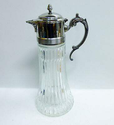 "Antique Silver Plated ""EP Zink Italy"" 14in Glass Water Pitcher w/ Ice Container"