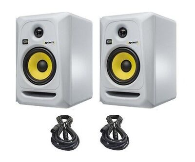 "2x KRK Rokit 5 G3 - 50W 5"" Two-Way Active Studio Monitor White w/Free Cables RP5"