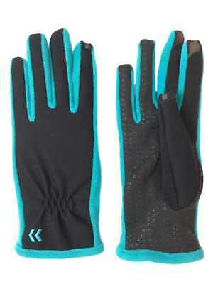 Isotoner Smart Touch Womens Black & Baltic Teal Tech & Text Gloves Smartouch
