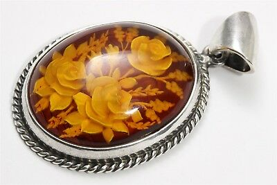 Vintage Poland Sterling Silver Reverse Carved Baltic Amber Rose Flower Pendant
