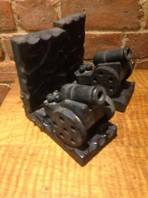 Antique Pair Of Ebonised Bookends Canons Military Artillery Army War Wooden Shel