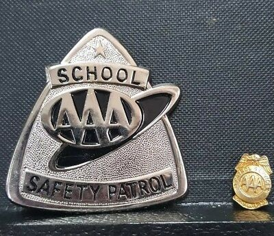 Two AAA Vintage Safety Patrol Badges Large And Small ...Mint Condition...