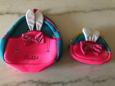 Toddler Preschool Little Kids Backpack Waterproof 3D Furry Rabbit Bunny 2 Pack