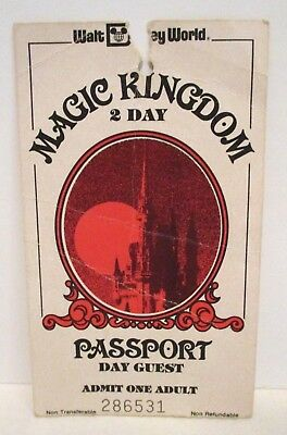 DISNEY WORLD PASSPORT Admission Ticket Hopper 1 Valid Day No