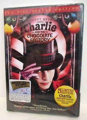 Charlie & The Chocolate Factory 2 Disc Dvd Set Factory Sealed Johnny Depp 2005