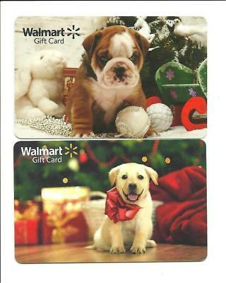 Lot (2) Walmart Cute Puppy Christmas Holiday Gift Cards No $ Value Collectible