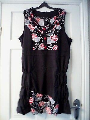 4ee808ad3a ASOS - Black Gorgeous Red Mesh Overlay Rose Feature Dress Size 18 bnwts
