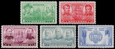 1936-37 1c-5c Commemorative Navy Issues, Set of 5 Scott 790-794 Mint F/VF NH