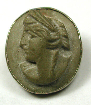 """BB Antique Carved Lava Button Clasic Woman's Head in Metal Rim 1/2"""""""