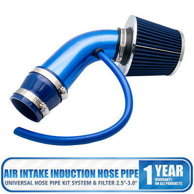 "Universal 2.5""-3.0"" Cold Air Intake Induction Hose Pipe Filter Kit System Blue"