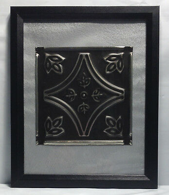 "Tin Ceiling Art Distressed Silver & Black Vintage Look Panel Framed 8""X10"" #642"