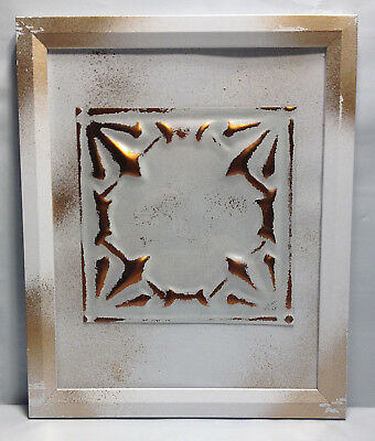 "Tin Ceiling Art Distressed White & Copper Vintage Look Panel Framed 8""X10"" #645"