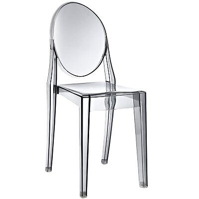Dining Side Chair in Smoked Clear  Mid Century Modern Contemporary Ghost Chair