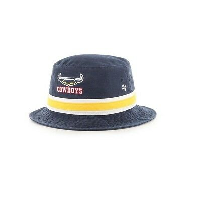 North Queensland Cowboys NRL 2019 Two Tone Striped '47 Bucket Hat Cap!