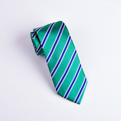 New Green Striped Classic Width Tie 8cm Necktie Standard Wide Top Boss Fashion