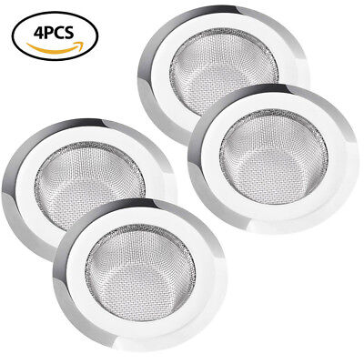 4X Stainless Steel Mesh Sink Strainer SET Drain Kitchen Bathroom Tub cleaner 4.5