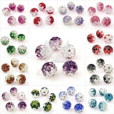 5pcs Crystal Clay Pave Rhinestone Disco Ball Bead for Bracelet 10mm 37 Colors
