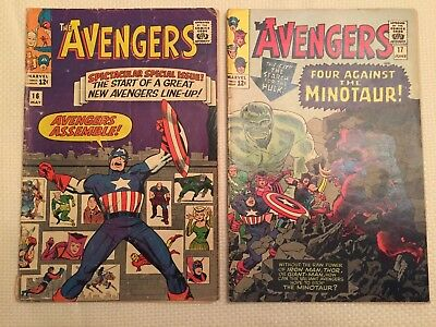 (2) Avengers Comics #16 and #17 New Avengers Marvel 1965