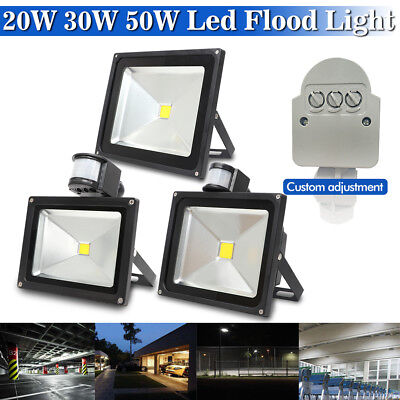 20W/30W/50W PIR Motion Sensor Standard LED Floodlight Security Flood Light BLK