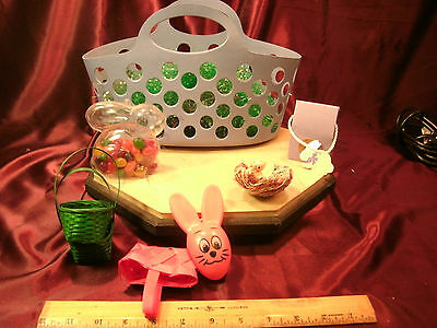 """12"""" x 6"""" x 6"""" plastic basket & assorted Easter decorative items-bunny-free ship"""