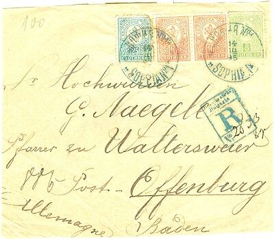 BULGARIA to GERMANY part mail 1895 years stamps 5 St, 2 x 10 St 25 St SMALL LION