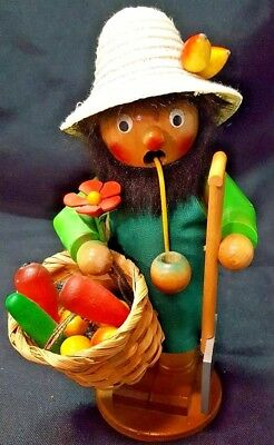 Vintage Steinbach Incense Smoker Figure Fruit Basket ~ FREE SHIPPING