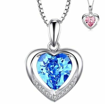 925 Sterling Silver Heart Crystal Stone Pendant Chain Necklace Womens Jewellery