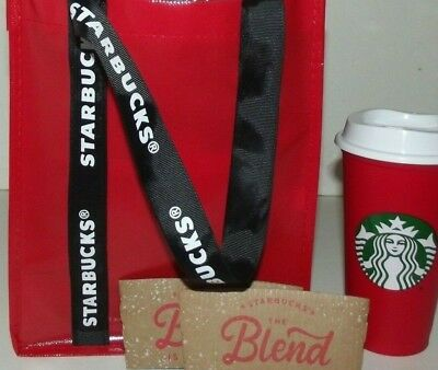 Starbucks 2018 TOTE Black Red REUSABLE CUP 16oz Grande PAPER SLEEVES LOT Xmas