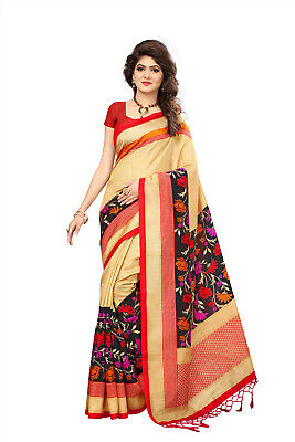 New Indian Designer Silk Saree Tussar Daily Wear Floral Print And Free Shipping