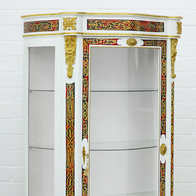 White Boulle Vitrine Napoleon Iii.stil Schauschrank Möbel French Display Cabinet