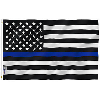 Anley Fly Breeze 4x6 Foot Thin Blue Line USA Flag,Polyester with Brass Grommets