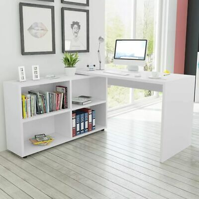 vidaXL Corner Desk 4 Shelves White Study Computer Table with Bookcase Shelf