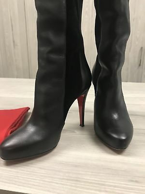 watch f62fb f0e22 CHRISTIAN LOUBOUTIN 37.5 Black Suede Leather Knee High Boots Auth MINT  Condition
