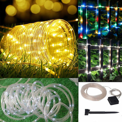 New 12M 100LED Solar Power String Fairy Lights Rope Tube Lamp Garden Yard Party