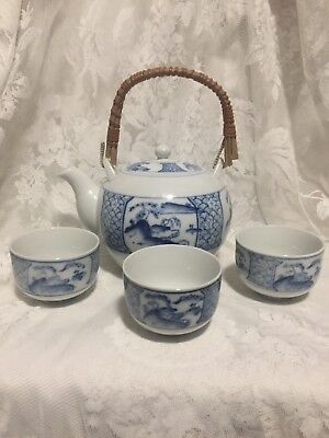 Vintage OMC Japan Blue And White Teapot With Bamboo Handle And Three Teacups