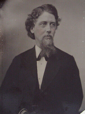 Tintype Photo Portrait Handsome Dapper Bearded Young Man With Nice Head Of Hair