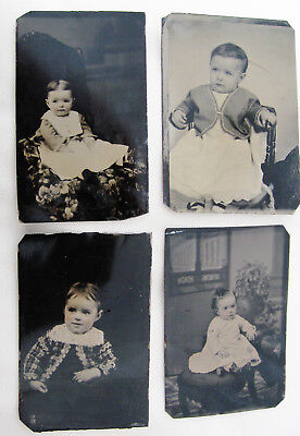 Lot Of 4 Antique Tintype Photos Portraits Of Adorable Little Victorian Children