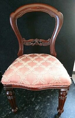 Antique Edwardian Mahogany Balloon Back Childs _ Doll Chair