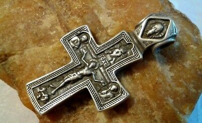 "Unique Vintage Massive Sterling Silver ""925"" Orthodox Crucifix Saint George"