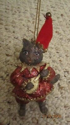 Antique Vintage Hand Painted Cat Ornament, Mint