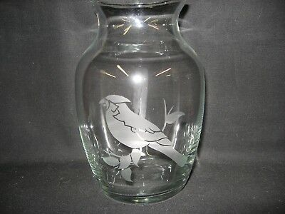 New Etched Cardinal Glass Vase