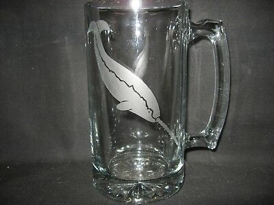 New Etched Narwhal Whale Glass Root Beer Mug