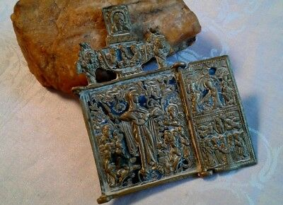 "RARE 18th CENT. ORTHODOX BRONZE ICON MARY MOTHER OF GOD ""JOY OF ALL WHO SORROW"""